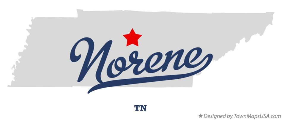 Map of Norene Tennessee TN