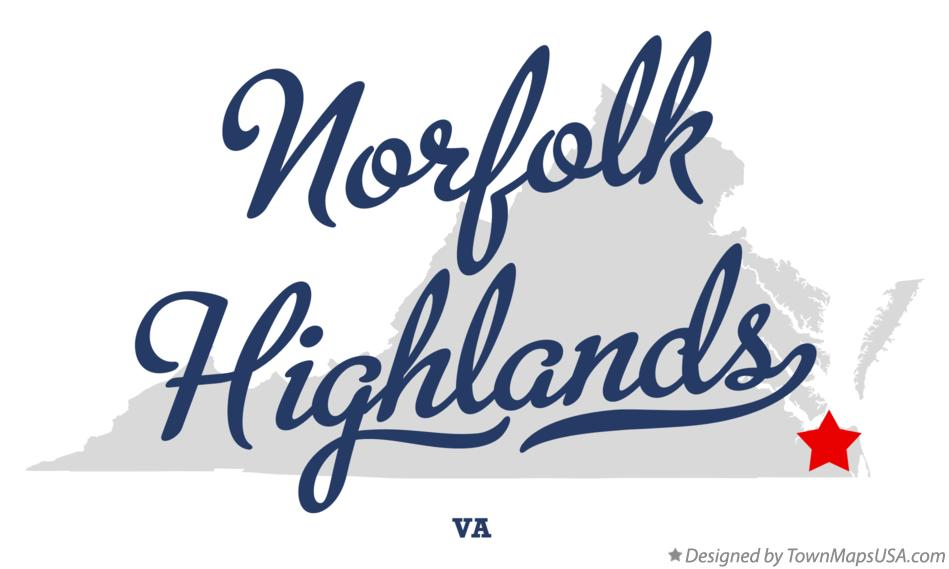 Map of Norfolk Highlands Virginia VA