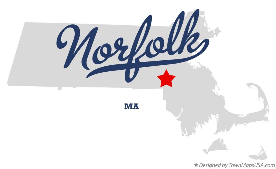 Map of Norfolk Massachusetts MA