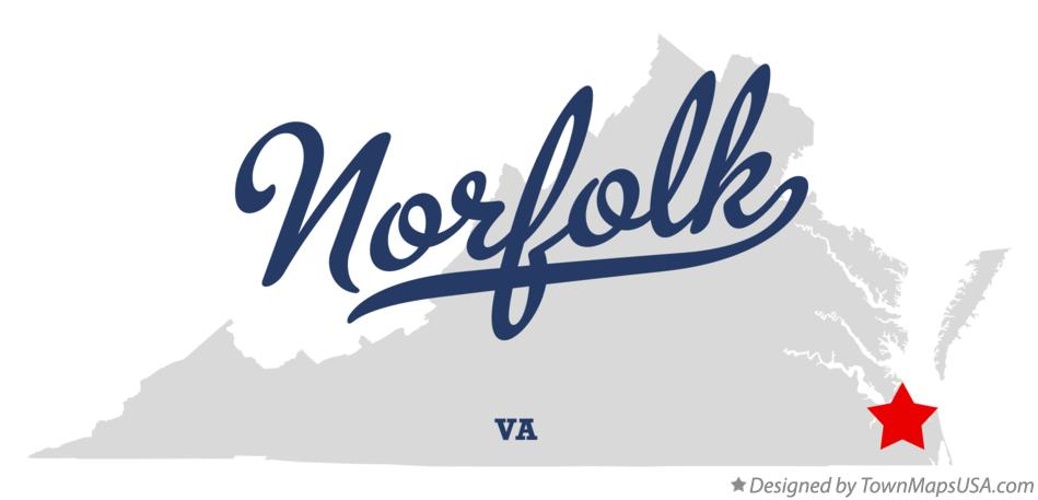 Map of Norfolk, VA, Virginia