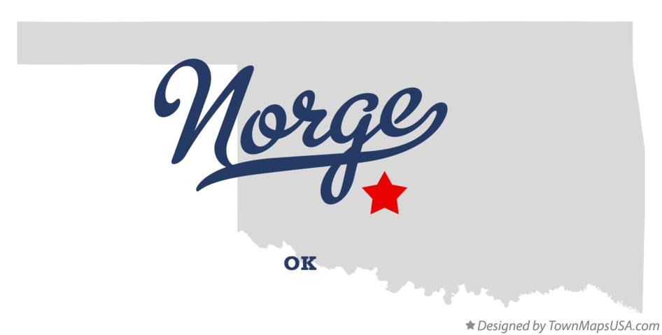 Map of Norge Oklahoma OK