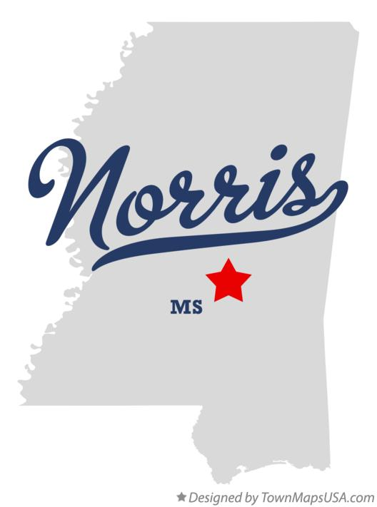 Map of Norris Mississippi MS