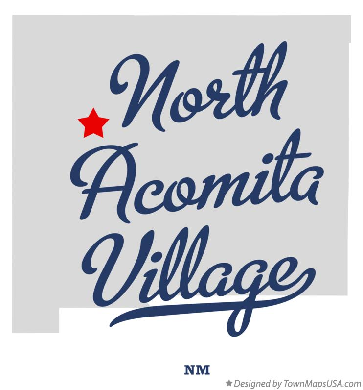 Map of North Acomita Village New Mexico NM