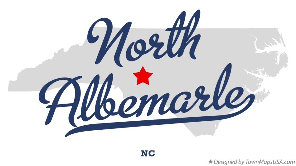 Map of North Albemarle North Carolina NC