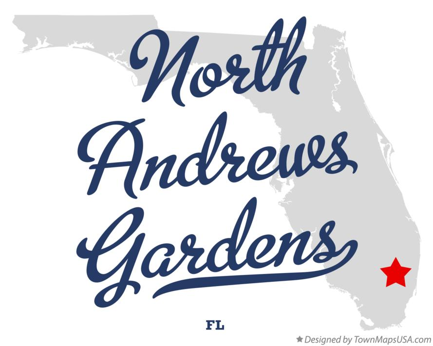 Map of North Andrews Gardens Florida FL