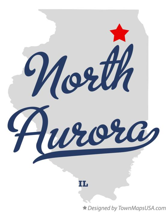 Map of North Aurora Illinois IL