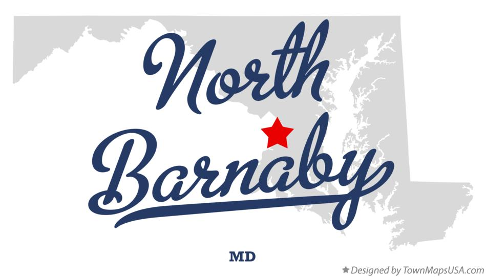 Map of North Barnaby Maryland MD
