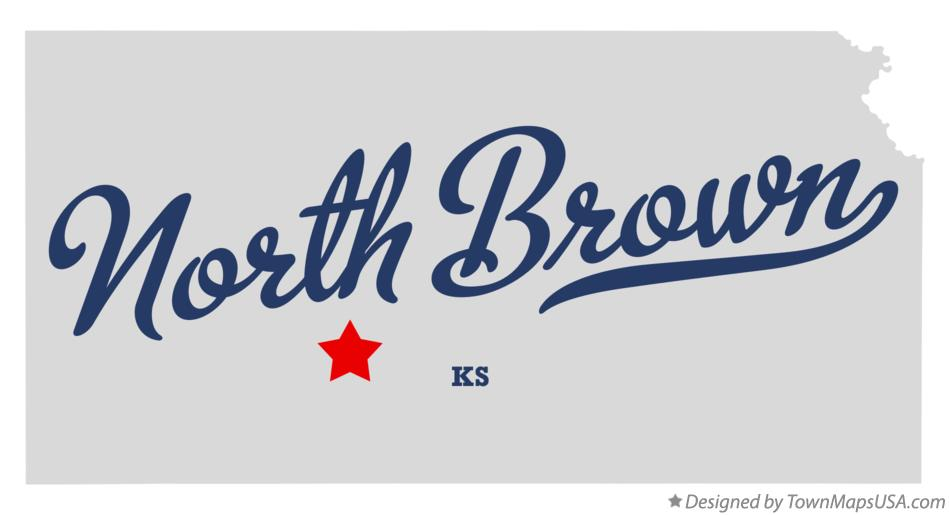 Map of North Brown Kansas KS