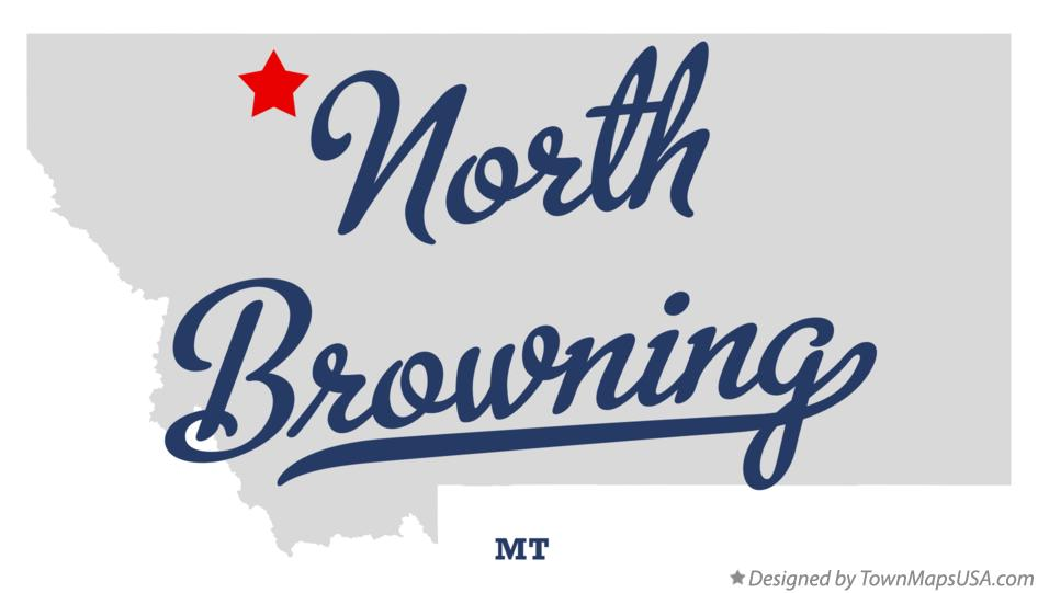 Map of North Browning Montana MT