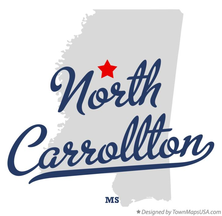 Map of North Carrollton Mississippi MS