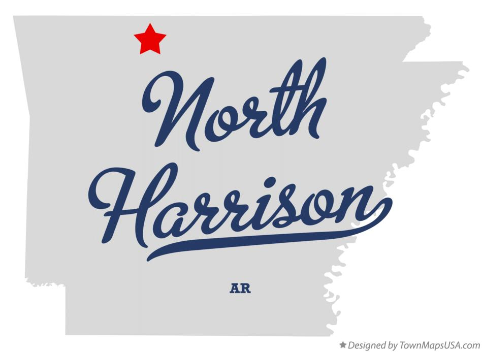 Map of North Harrison Arkansas AR