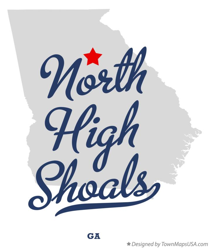 Map of North High Shoals Georgia GA