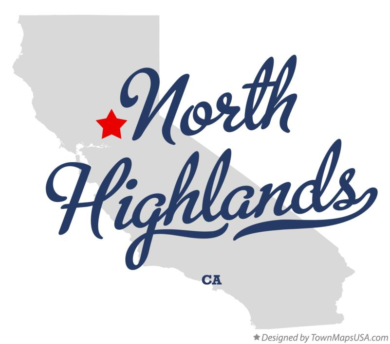 Map of North Highlands California CA
