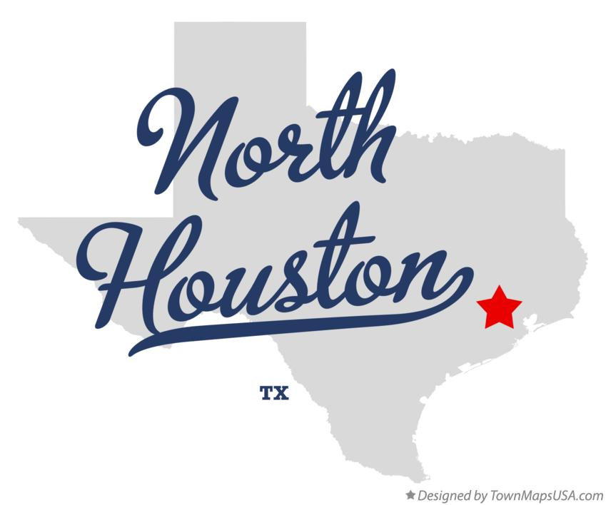 Map of North Houston Texas TX