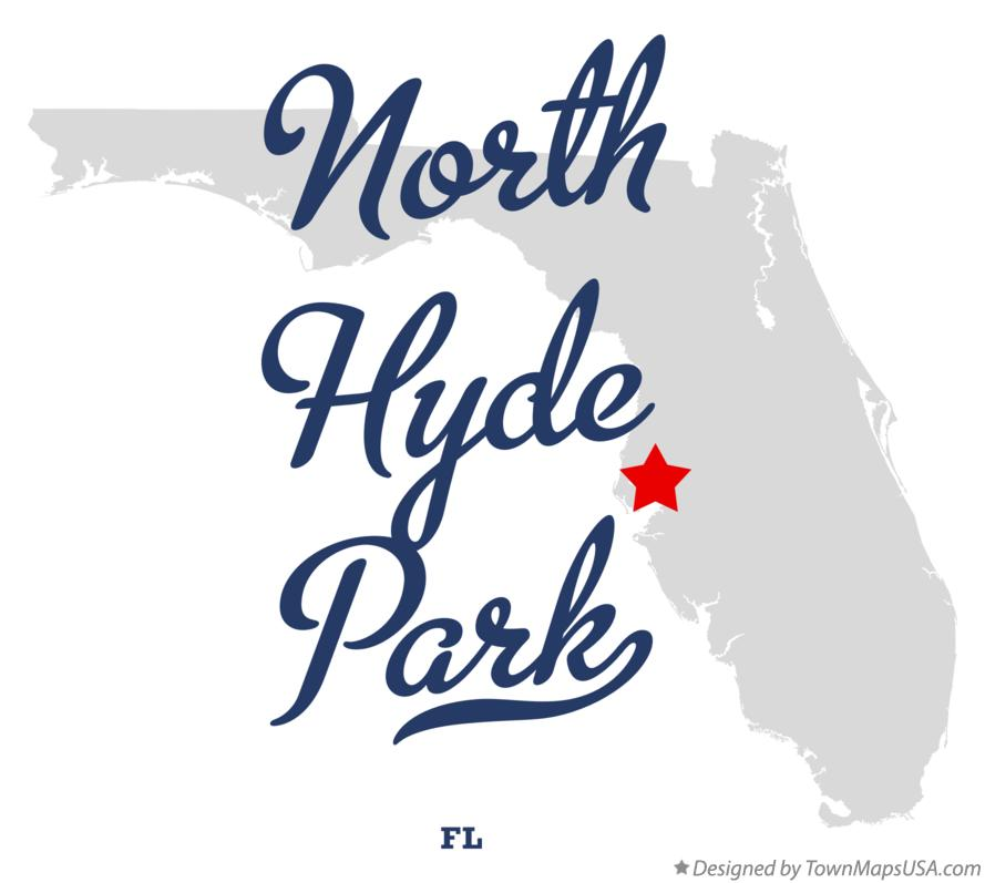 Map of North Hyde Park Florida FL
