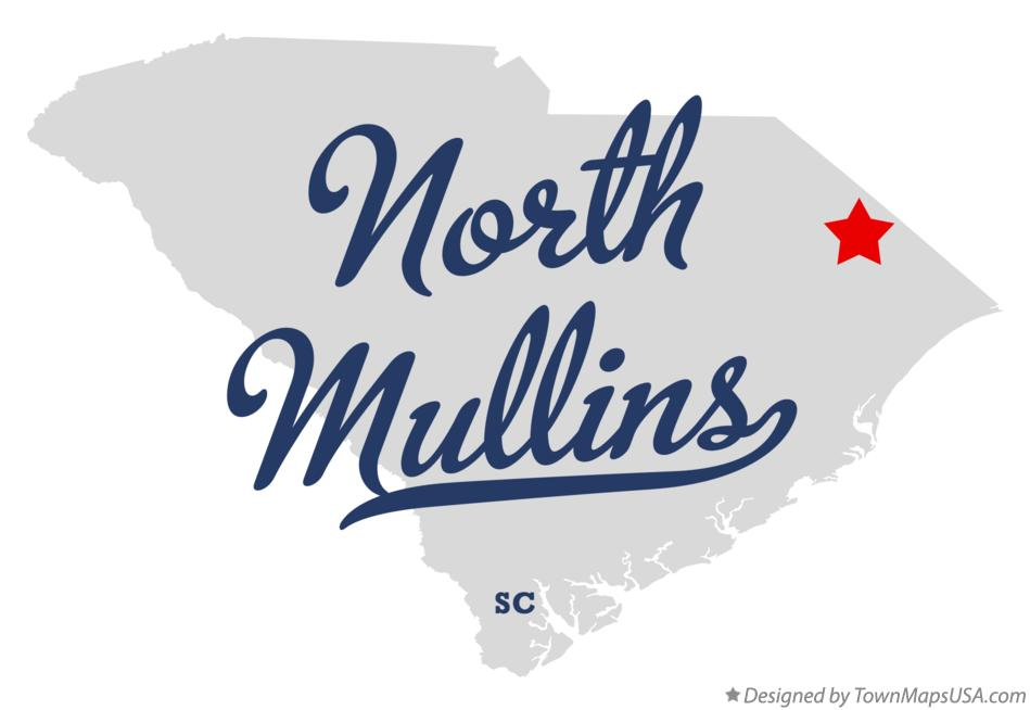 Map of North Mullins South Carolina SC