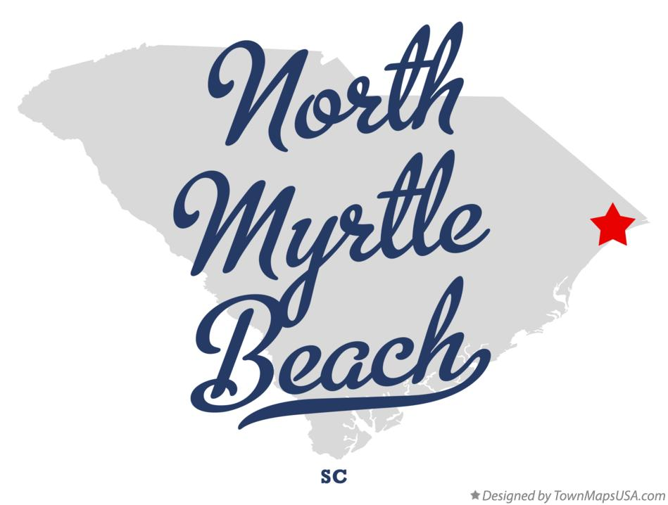 Map of North Myrtle Beach South Carolina SC