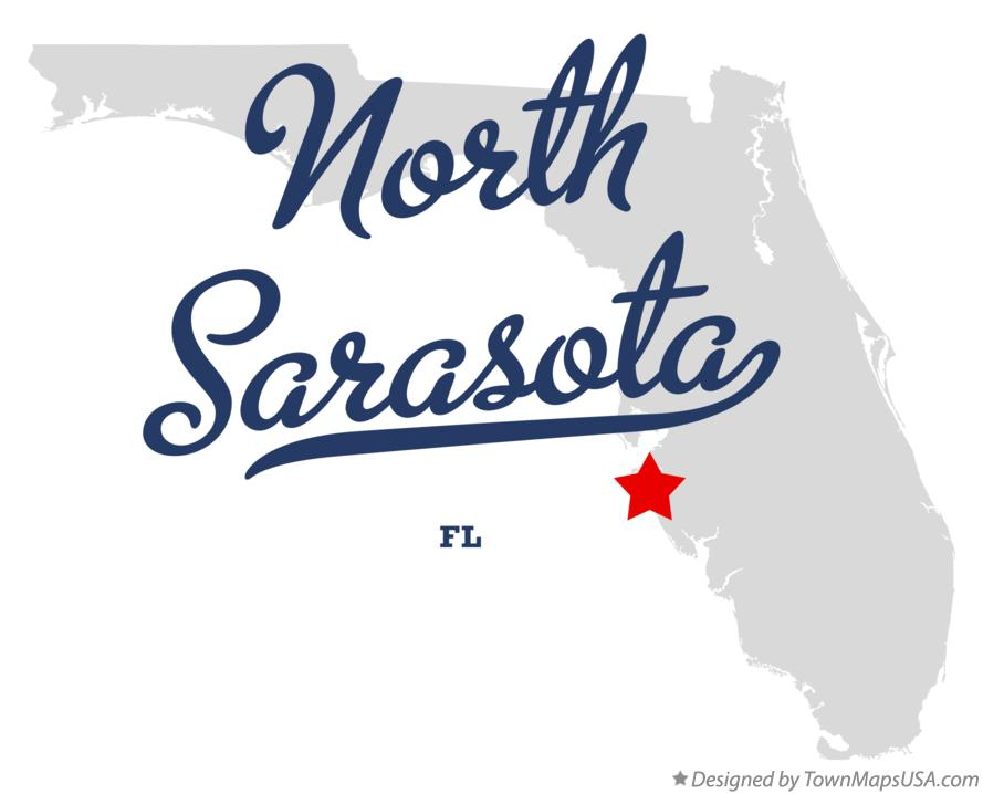Map of North Sarasota Florida FL