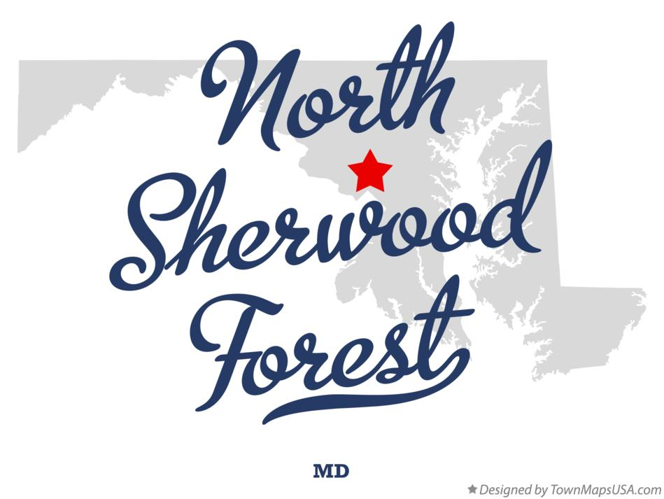 Map of North Sherwood Forest Maryland MD