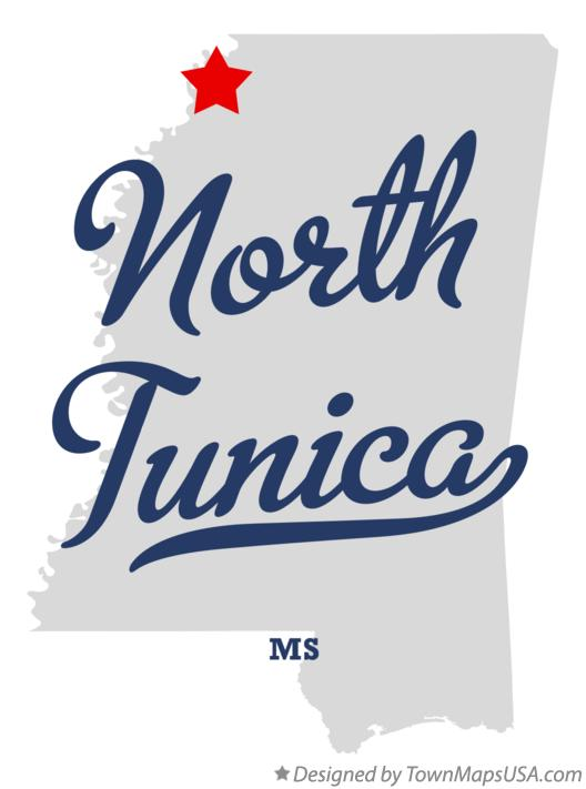 Map of North Tunica Mississippi MS
