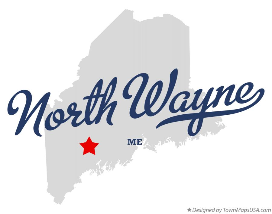 Map of North Wayne Maine ME