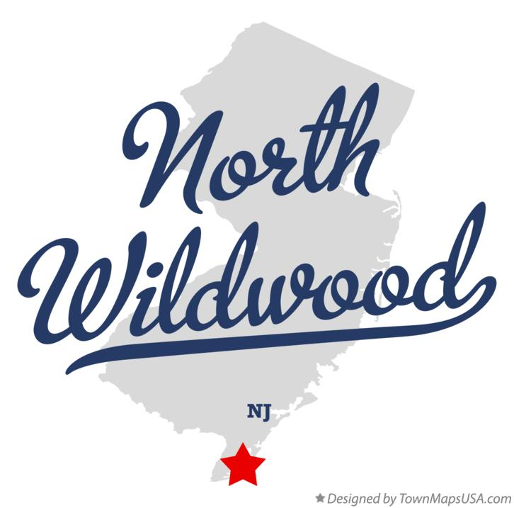 Map of North Wildwood New Jersey NJ