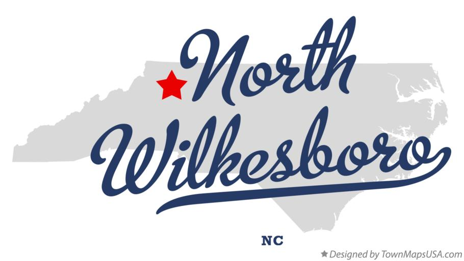 Map of North Wilkesboro North Carolina NC