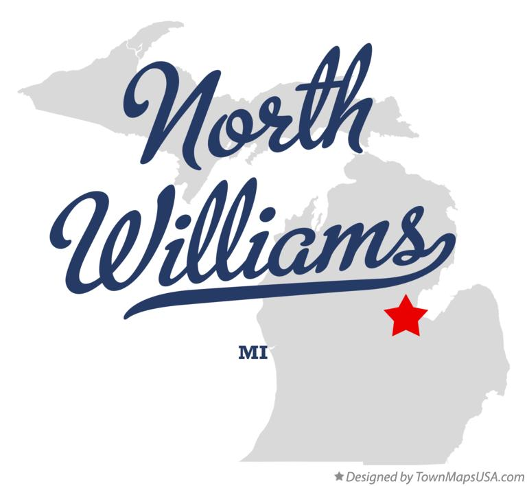 Map of North Williams Michigan MI
