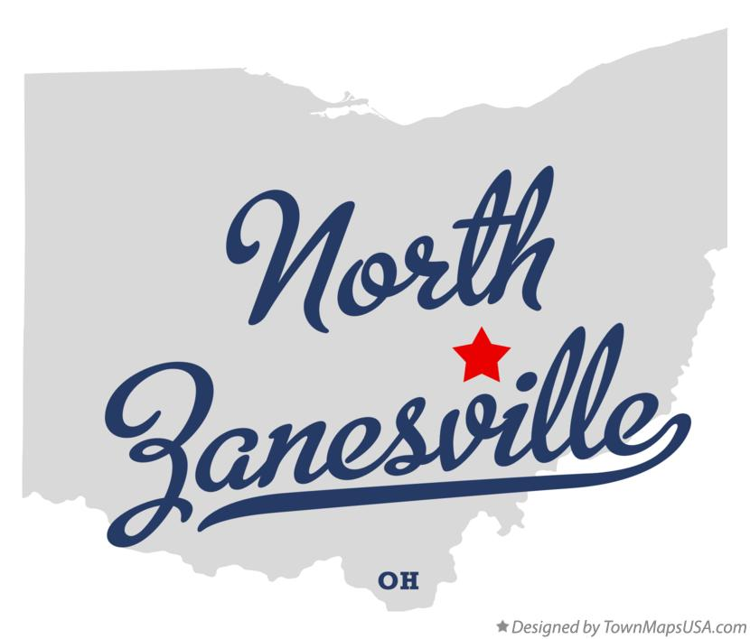 Map of North Zanesville Ohio OH