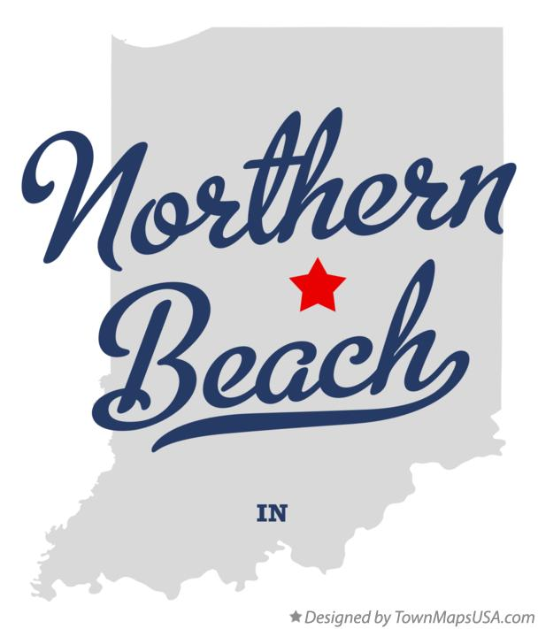Map of Northern Beach Indiana IN