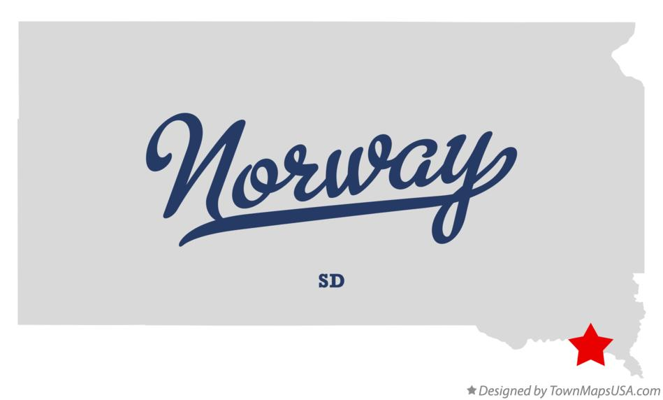 Map of Norway South Dakota SD