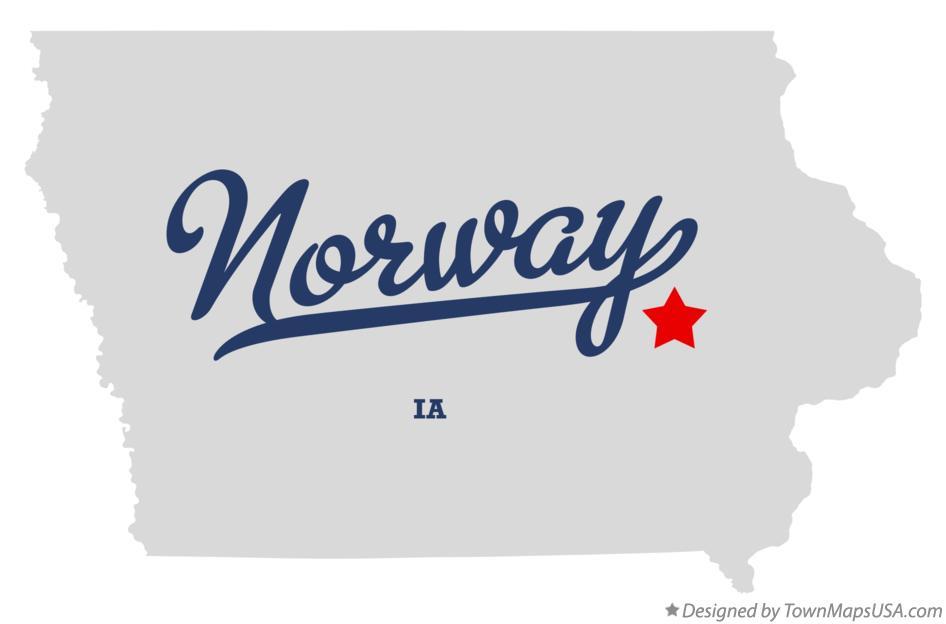 Map Of Norway Benton County IA Iowa - Norway iowa map