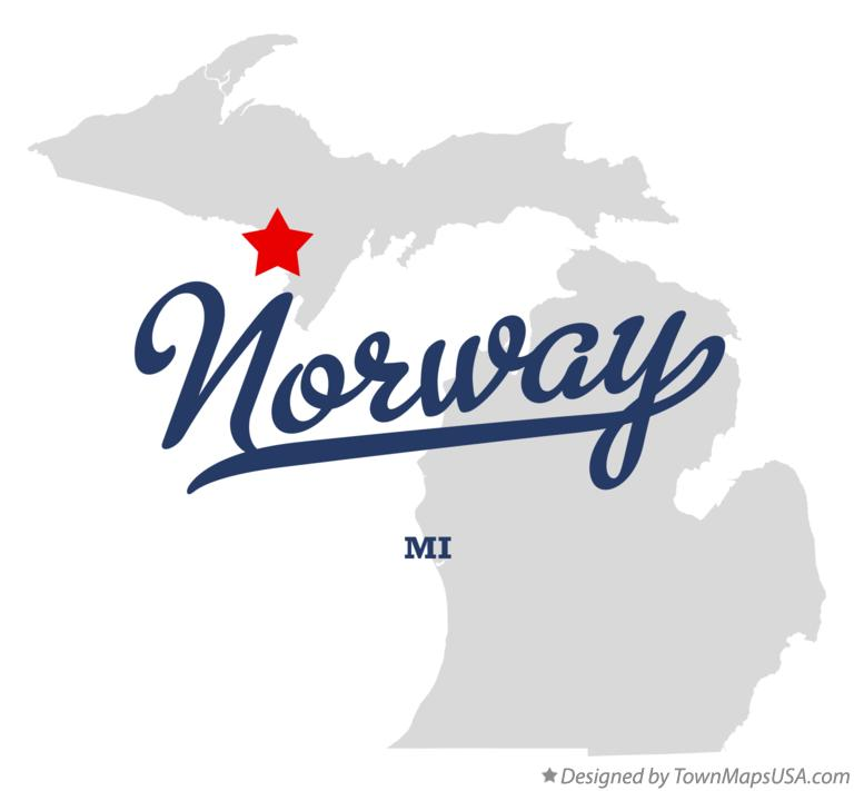 Map Of Norway MI Michigan - Norway michigan map