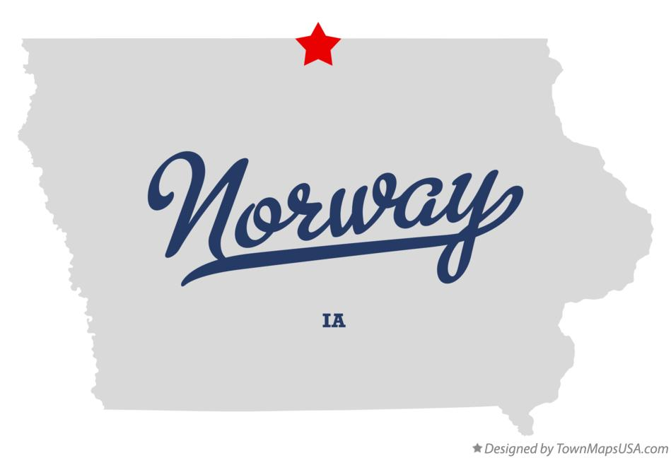 Map of Norway Iowa IA
