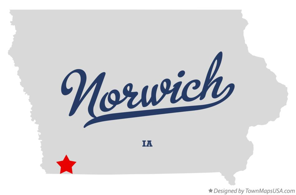 Map of Norwich Iowa IA