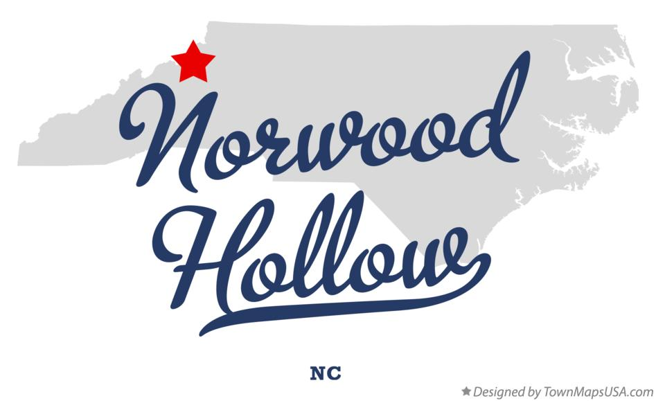 Map of Norwood Hollow North Carolina NC