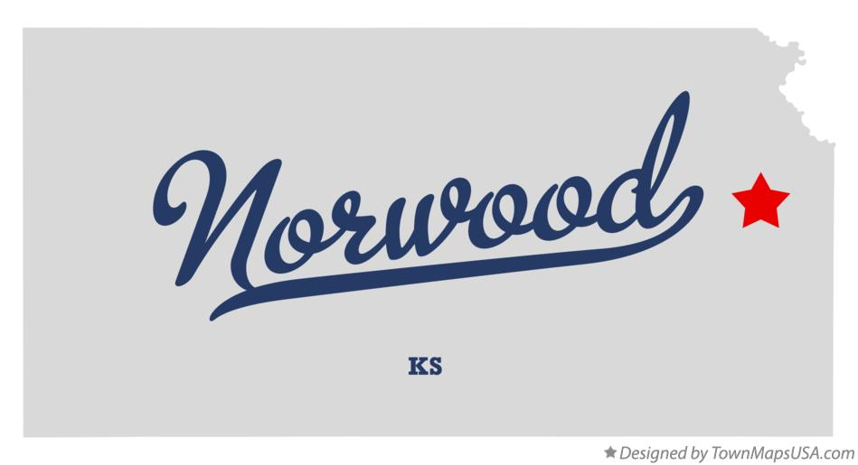 Map of Norwood Kansas KS