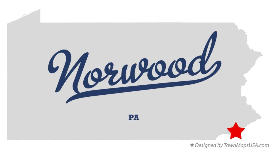 Map of Norwood Pennsylvania PA