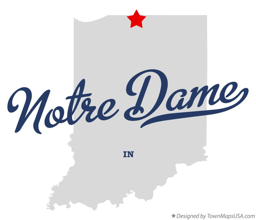 Map of Notre Dame Indiana IN