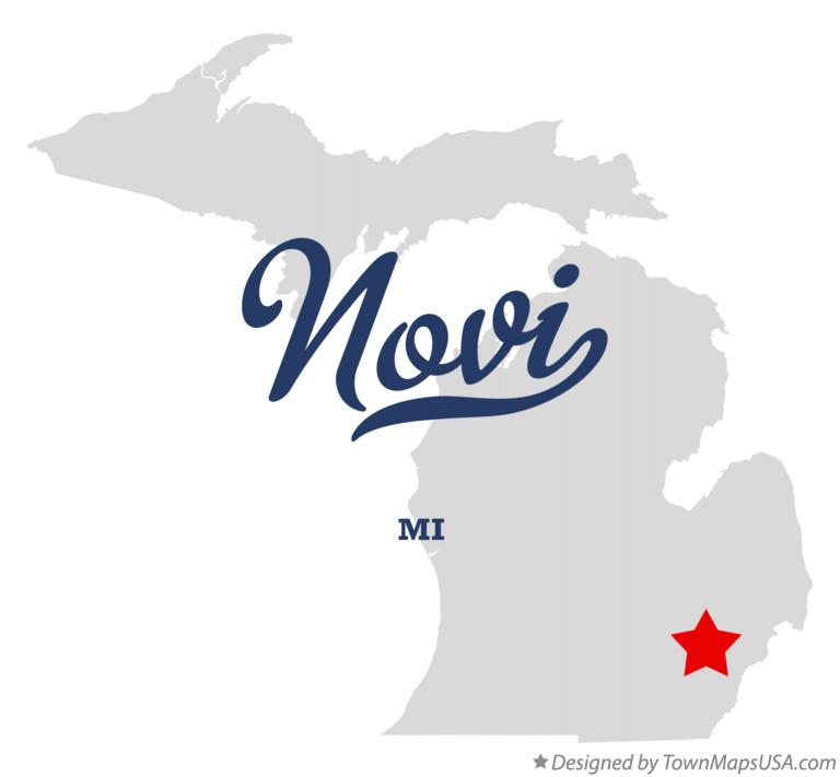 Map of Novi MI Michigan