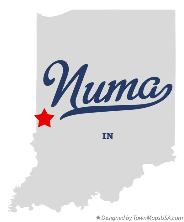 Map of Numa Indiana IN