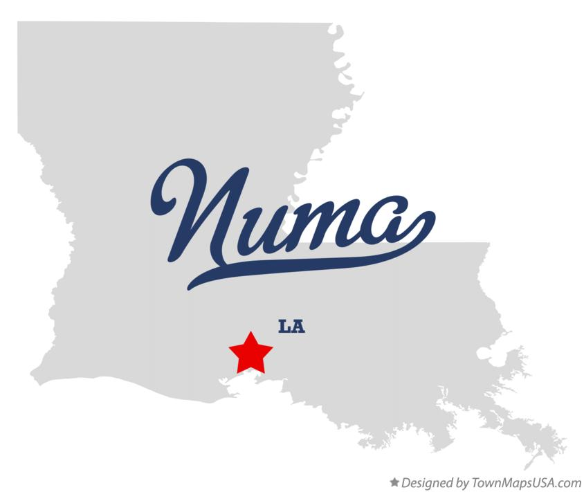 Map of Numa Louisiana LA