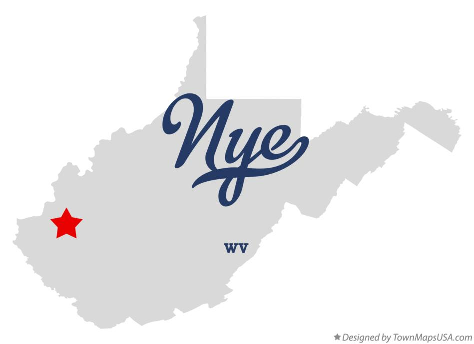 Map of Nye West Virginia WV
