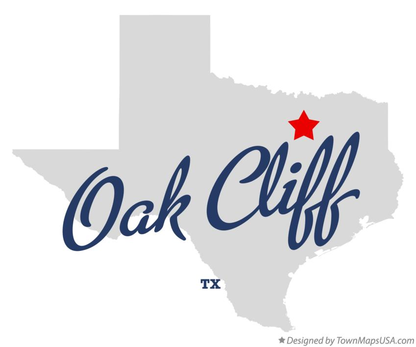 Map of Oak Cliff Texas TX
