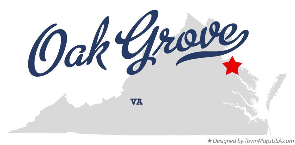 Map of Oak Grove, Westmoreland County, VA, Virginia