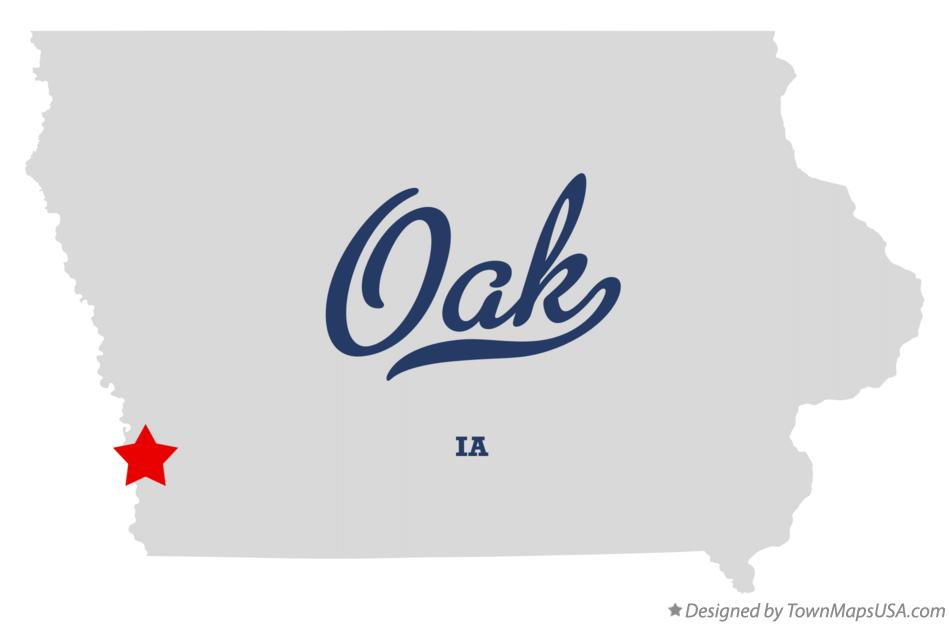 Map of Oak Iowa IA
