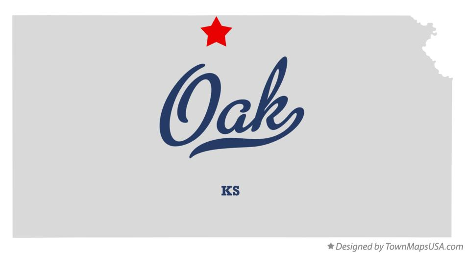 Map of Oak Kansas KS