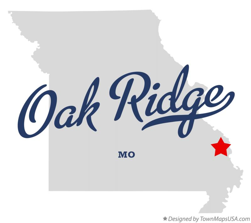 Map of Oak Ridge Missouri MO