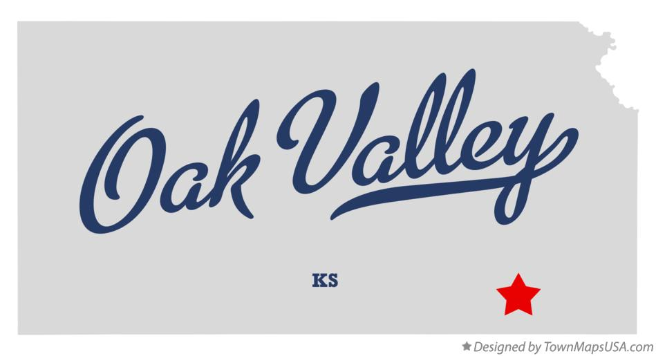 Map of Oak Valley Kansas KS