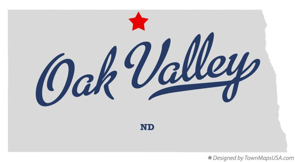 Map of Oak Valley North Dakota ND